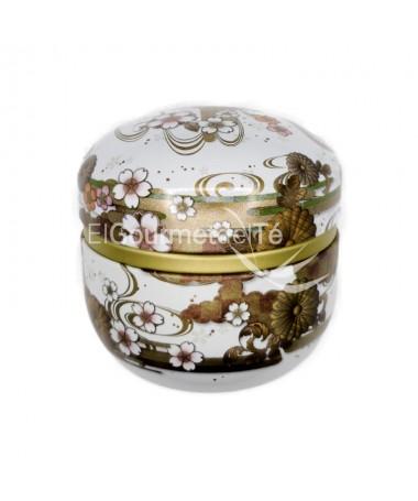 Lata japosena Kaze 60 gr. (blanco-marrón) - guardar el te e infusiones