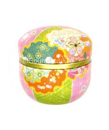 lata japonesa tonos rosa verde - almacenar el té e infusiones