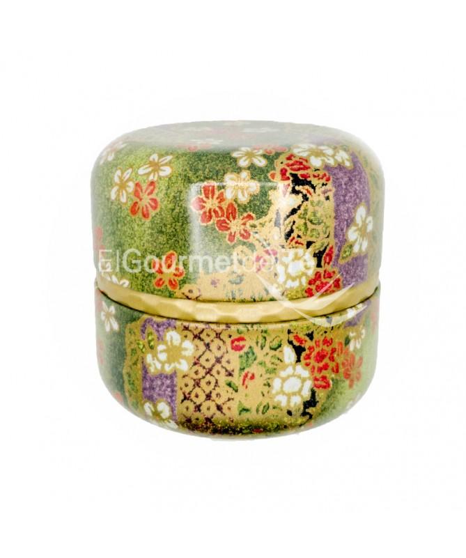 lata japonesa verde lila dorado - almacenar té e infusiones