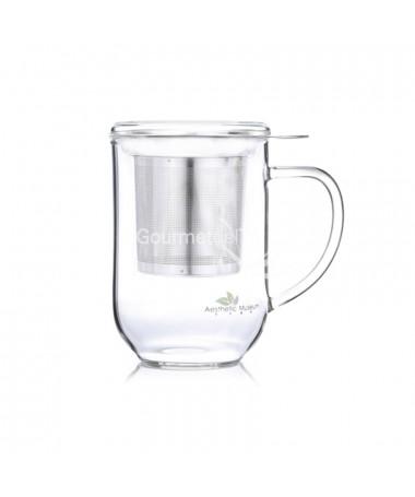 Mug - Tisanera de vidrio con tapa 500 ml - taza con filtro y tapa